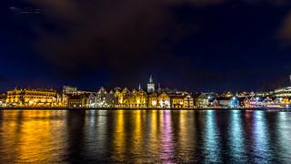 Stavanger harbor by night