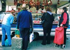 Sudbury Market (Timm Ranson) Tags: street people film standing 35mm shopping suffolk women market meat sudbury analogue shoppers butchers marketstall fujisuperia streetphptography timmranson