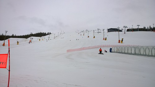Still a few people out on the slopes, even in the rain! #Levi #Finland #Pureview