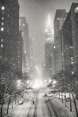 New York City - Snow at Night - Blizzard (Vivienne Gucwa) Tags: street nyc newyorkcity winter snow newyork night manhattan snowstorm chryslerbuilding urbanphotography newyorkatnight nycnigh