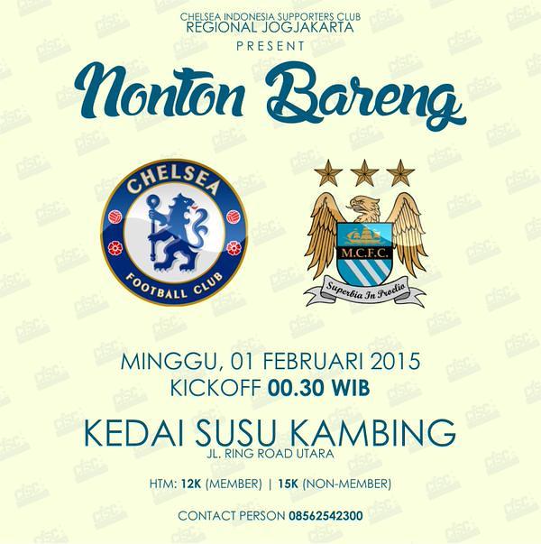 "Chelsea Indonesia @ChelseaIndo: ((((SUASANA JOGJA ))))""@CISCjogja: NONBAR BIGMATCH w/ @MCSCI_JOGJA | Chelsea vs Man. City | Minggu 1 Feb | http://t.co/X315v1oLNj"""