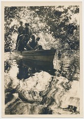 Snapshot: The Rowboat [With A Troublesome Caption On The Back] (mrwaterslide) Tags: old reflection dark mirror moody snapshot snap oldphoto rowboat brooding magical racist troubling otherworldly