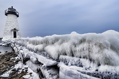 Icy Palmer's Island Light (Frank C. Grace (Trig Photography)) Tags: winter light lighthouse snow ice island harbor unitedstates massachusetts steps newengland icy fairhaven whaling winterwonderland newbedford palmersisland whalingcity