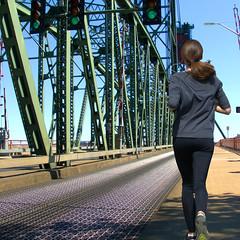 Hawthorne Bridge Run (swong95765) Tags: morning bridge woman lady female exercise running run jog deserted