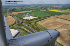 De-Havilland Dragon Rapide in flight view (bananamanuk79) Tags: classic vintage airport dragon wwii retro queen duxford rare airfield gipsy dehavilland imperialwarmuseum rapide vintageplane dragonrapide egine gaiyr hg691 iolar classicwings