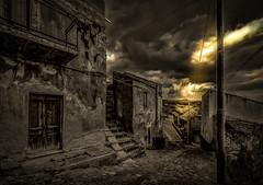 Strada Siciliana (mcalma68) Tags: urban italy clouds vintage blackwhite cityscape sicily oldtown decline leonforte