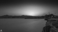 Industrial Sunset (sideris_bill) Tags: longexposure sunset sea bw motion water port industrial sony greece le nd dslr blacknwhite bnw yatch hoya a58 ndfilter elefsis elefsina nd1000 elefsina2021