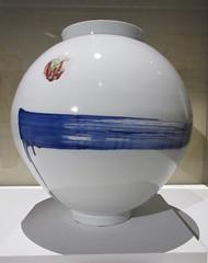 Elegant white porcelain vase with a blue stripe (Monceau) Tags: blue white streak line korean vase elegant porcelain