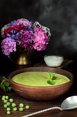 Vegetarian fresh pea cream soup, still life (breamchub) Tags: wood stilllife food color green cooking horizontal dinner dark lunch cuisine soup leaf healthy european moody eating cream mint plate indoor spoon bowl vegetable course gourmet homemade meal round heat vegetarian backgrounds material appetizer organic temperature cooked pea boiled culinary seasoning freshness crockery darkphotography refreshment dieting foodphotography