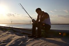 Fishing (GREGCIRCANOW) Tags: newyorkcity brooklyn coneyisland seagate verrazano narrows bridge statenisland fishing sunset