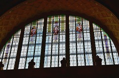 Stained glass window of main facade of Old building of Central railway station (Hlavny nadrai) in Prague, Czech Republic. June 10, 2016 (Vadiroma) Tags: window prague praha czechrepublic oldbuilding 2016 centralrailwaystation hlavnynadrai