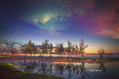 Colourful Milky Way (stuckinparadise) Tags: stuckinparadise laprairie mauritius ilemaurice beach filaos sea sand dusk sunset milkyway stars sky longexposure framestack stackblend cloudstack timelapse