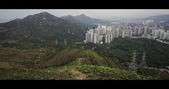 Natural and Artificial. (Jukai The Pilgrim) Tags: white mountains green nature dark landscape hongkong grey colours outdoor hiking earth path sony wide foggy hills national lane cinematic ultra a6000 sel1018 ilce6000