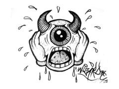 graffiti sticker one eye devil (marcomacedo3) Tags: cholowiz graffiti sticker nazer26 mtsk paste stamp slaps collabs spraycan trade