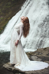 The Forest's Veins (Furcifer07) Tags: new york red portrait white nature water outside flow outdoors ginger waterfall moss model stream flickr waves dress head tide upstate medieval rush portraiture gathering reach gown lorenschmidt ccfg2016