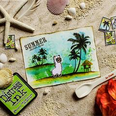 postcard from Ilama (colorful capricorn) Tags: summer vacation island postcard distressinks ilama lawnfawn