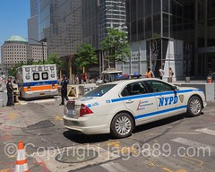 NYPD Police Patrol Car, World Trade Center, New York City (jag9889) Tags: 2016 20160619 4wtc ambulance bravest car checkpoint cone ems emergencymedicalservices fdny finest firedepartment firedepartmentofthecityofnewyork firefighter firstresponder fourworldtradecenter groundzero lawenforcement libertystreet lowermanhattan manhattan ny nyc nypd newyork newyorkcity newyorkcityfiredepartment newyorkcitypolicedepartment newyorksbravest outdoor paramedic patrol policecar policedepartment policepatrolcar skyscraper traffic usa unitedstates unitedstatesofamerica vehicle wtc worldtradecenter jag9889
