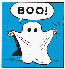 Boo! (Tom Simpson) Tags: halloween illustration vintage comics costume comic ghost cartoon peanuts halloweencostume boo 1950s charliebrown charlesschulz 1953 charlesmschulz vintagehalloween
