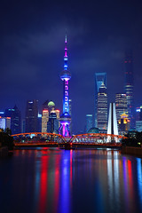 Shanghai - Pearl Tower Reflections (cnmark) Tags: china bridge light reflection building tower night creek reflections river garden noche tv suzhou shanghai bright nacht famous scenic noite colored pearl orient coloured nuit notte nachtaufnahme   pearloftheorient  wusong  allrightsreserved