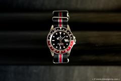 Nato GMT (Simon Greig Photo) Tags: red black macro closeup studio swiss watch coke timepiece rolex nato gmtmasterii