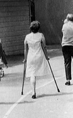 bw_40 (jackcast2015) Tags: handicapped disabled disabledwoman cripledwoman onelegwoman oneleggedwoman monopede amputee legamputee crutches
