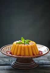 mango pudding (asri.) Tags: foodphotography 2016 105mmf28 foodstyling darkbackdrop bakinghomemade