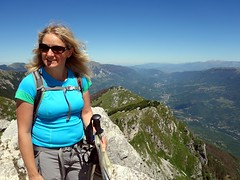 Edita admires the view from Pizzo Deta (markhorrell) Tags: walking lazio apennines montiernici
