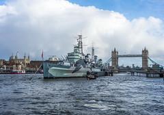 HMS Belfast & Tower Bridge, London (Simrocks) Tags: england london thames towerbridge capital destroyer hmsbelfast battleship riverthames cruiser toweroflondon