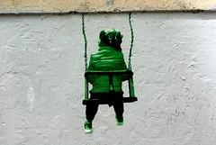 Somewhere in Trastevere, Rome (nothinginside) Tags: street italy baby rome roma art wall poster graffiti sticker italia may pop swing trastevere maggio bambina murale adesivo altalena figura 2016