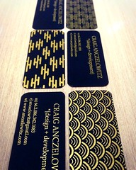 My new 'mini' business cards (anczelowitz) Tags: art print design pattern card printing businesscard bizcard blackandgold anczelowitz
