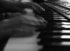 The motion of music (Charlotte Ruck) Tags: music keyboard piano playing keys blackandwhite monochrome blur slow shutter speed