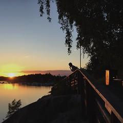 Summer night in Sweden (hannatornblom) Tags: sunset summer sky sun nature water silhouette backlight night landscape evening sweden stockholm eveningsun july sverige scandinavia sommar iphone solnedgång summernight danderyd kväll mörby iphoneography iphone6