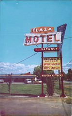 Plaza Motel, Kelowna, BC (SwellMap) Tags: architecture vintage advertising design pc 60s fifties postcard suburbia style kitsch retro nostalgia chrome americana 50s roadside googie populuxe sixties babyboomer consumer coldwar midcentury spaceage atomicage