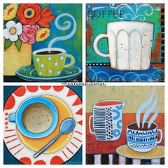 Coffee Cup Art (Regina Lord (creative kismet)) Tags: art cup coffee happy acrylic bright tea paintings chai artbyreginalord