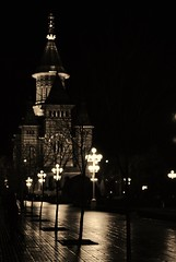 Timisoara.3 (TRUDI.) Tags: light blackandwhite bw reflection church sepia night cityscape chiesa romania notte timisoara seppia nightcity platavictorei