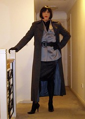 Business Chic (9) (Furre Ausse) Tags: black leather silver grey belt coat gray skirt full business suit jacket gloves heels chic satin ankle length career overcoat