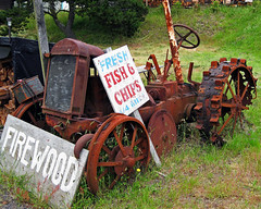 Fish and Chips Tractor (Jeff M Photography) Tags: road old tractor abandoned car wheel oregon truck john rust iron hwy 101 transportation roadside deere relic mccormick deering