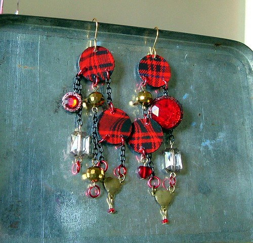 Mixed Media Tartan Earrings