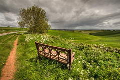 Looks like rain is on the horizon (Simon Vogt) Tags: cloud rain weather bench landscape nikon view badass wide wideangle stormy devon handheld ide photomatix tonemapped 142mm
