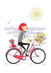 girl on a bike (One Little Bird Studio) Tags: ocean red sea black girl bike illustration retro illustrator chic midcenturymodern naiive onelittlebirdstudio