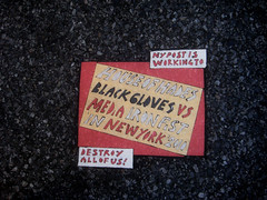 Toynbee Tile House of Hades 2013 NYC 1551 (Brechtbug) Tags: park street new york city nyc house ny black tile us is media iron all post working gloves fist vs crosswalk 33rd avenue hades toynbee 2010 destroy 2013