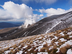Vents at Te Mari Crater (blue polaris) Tags: park new travel winter newzealand snow ice june landscape island volcano scenery crossing walk plateau great north central olympus lord hike trail lotr rings zealand alpine national nz tongarironationalpark northisland tongariro doc volcanic ruapehu tramp omd mordor em5 centralvolcanicplateau