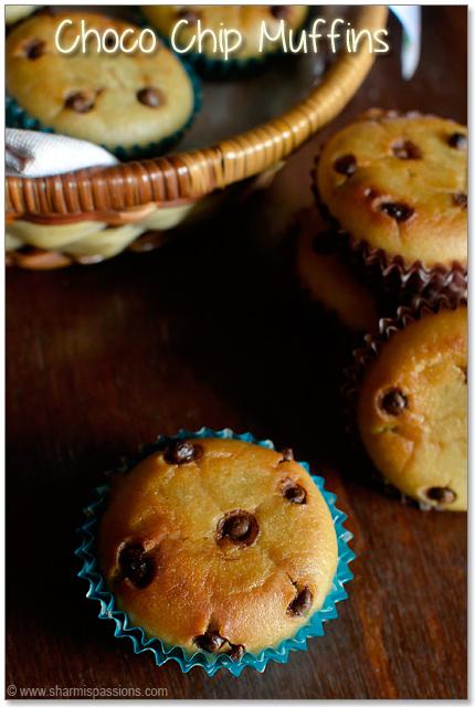 Eggless Chocolate Chip Muffins