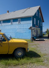 Yellow Truck, Blue Store (jah32) Tags: blue summer ontario canada color history yellow truck store nikon colours silverislet silvermining d7000