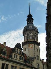 Dresden Residenzschloss, Tower with Clock (Phil Masters) Tags: dresden clocktower schlossplatz residenzschloss 23rdjune june2013 dresdenresidenzschloss schlossplatzdresden dresdenschlossplatz