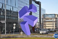 Optical Illusion Artwork - Looking West (Sig Holm) Tags: sculpture art iceland artwork september reykjavík opticalillusion ísland islande 2013 listaverk borgartún rafaelbarrios höfðatorg höfðatún katrínartún