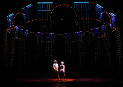 Lindsay Roginski (Roxie Hart) and Brenda Braxton (Velma Kelly) in Chicago produced by Music Circus at the Wells Fargo Pavilion August 20-29, 2013. Photo by Charr Crail.