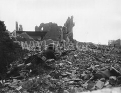 WWI0047B1 (ww1images) Tags: building brick church socks wall boot town wire ruins kilt timber brodie rifle helmet scottish soldiers british uninhabited destroyed wreckage troops waterbottle rubble devastation allied
