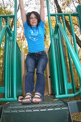 Vv_9653 Playground (grail76) Tags: blue woman fall girl playground play sandals tshirt dancer jeans