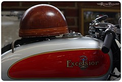 Excelsior @ Sammy Miller Motorcycle Museum (=RetroTwin=) Tags: new old uk autumn red england detail rot classic sign museum vintage logo tank britain united herbst helmet kingdom tags september collection miller motorcycle oldtimer british sammy milton manor excelsior helm motorrad 2013 bashley lostillusion75 retrotwin